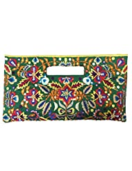 Bhamini Parsi Embroidery And Sequinned Work Stylish Clutch (Green)
