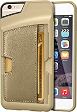"iPhone 6 Plus Wallet Case - Q Card Case for iPhone 6 Plus (5.5"") by CM4 - Ultra Slim Protective *Kickstand* Credit Card Carrying Case (Champagne Gold)"
