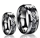 His & Her's 8MM/6MM Dragon Design Tungsten Carbide Wedding Band Ring Set (Available Sizes 5-14 Including Half Sizes Please e-mail sizes