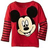Disney Little Boys' Mickey Mouse Striped Long Sleeve Tee