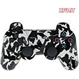 XFUNY(TM) Premium Wireless Bluetooth Six Axis Dualshock Game Controller for Sony PlayStation 3 PS3 (Black-White Camouflage)