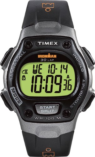 Timex Men's T53151 Ironman Traditional 30-Lap Black/Gray Resin Strap Watch