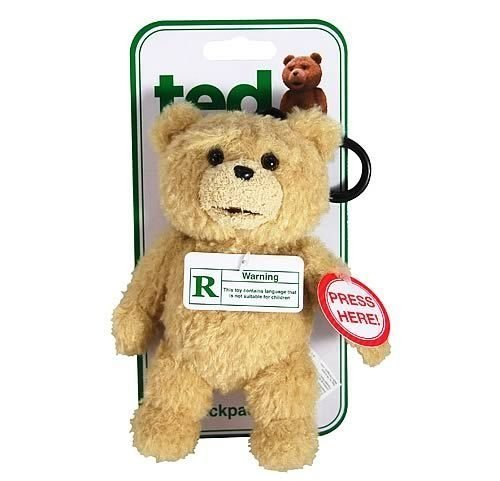 """TED"""" TALKING BACKPACK CLIP PLUSH TEDDY BEAR 6-Inch"""