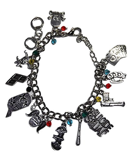 [DC Comics Suicide Squad Harley Quinn Silvertone Metal 12 Charms Bracelet] (Katana Dc Costume)