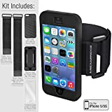 Armband Value Pack for iPhone 5/5S By Mediabridge - 1 Slim Shell Case (Black), 1 Silicone Case, 1 Premium Glass Screen Protector & 2 Elastic Velcro Straps For Upper/Forearms (Part# AB2-I5-BLACK )