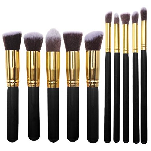 eBoTrade Professional 10pcs Black Gloden Professional Cosmetic Makeup Brushes Set Set Liquid or Powder Foundation 10 Pieces US Seller