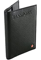 RFID Protected Alpine Swiss Genuine Leather Passport Cover Protects Passport Privacy Identity