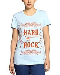 Adro Women's Round Neck Cotton T-Shirt (Sky Blue)