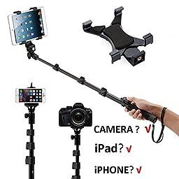 Neomark Extendable Handheld Bluetooth Telescoping Selfie Stick Self Locking Sturdy Monopod For iPad Tablet iPad 2, 3, 4, iPad Mini 1st, 2, 3, - Samsung Galaxy Tab, Tab 2, Tab 3, Tab 4, Tab Pro, Tab S, Microsoft Surface, Google Nexus and more Tablets iPhon