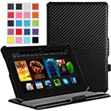 """MoKo Amazon Kindle Fire HDX 7"""" Case - Slim-Fit Multi-angle Stand Cover Case for Amazon New Kindle Fire HDX 7.0 Inch 2013 Generation Tablet, Carbon Fiber BLACK"""