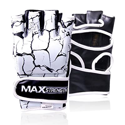 HIT 'EM HARD Gloves MMA Grappling UFC Cage Fight Boxing Punch Bag Mitts Rex Leather Small/Medium/Large/XL from MAXSTRENTGH ®