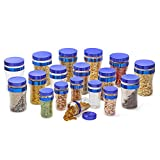 Steelo 18 Pcs PET Container Set - 300ml X 6, 800ml X 6, 1200ml X 6 (Beans Blue)