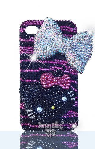 Great Sale Luxury Black & HOT Pink ZEBRA Handmade Crystal Hello Kitty Iphone 4/4S or 5 case w/3D Face by Jersey Bling (Iphone 4/4s)