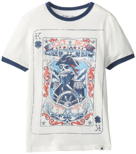 Lucky Brand Big Boys' Clover King Tee, White, Small front-1024623