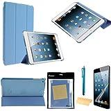 Foxnovo 4-en-1 ultra-fin Smart PU cas Stand Kit de caches pour iPad mini 2 (mini iPad avec écran Retina) Apple iPad mini (bleu ciel)