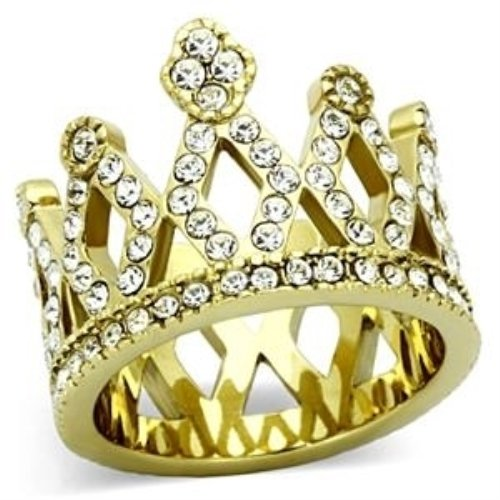 Women'S Gold Colored Lust Crystal Crown Cocktail Ring, Clear - Size 6