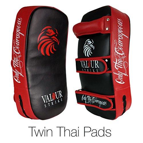Kickboxing-Thai-Kick-Twin-2-Pack--Shield-PRO-Curved-Pair-Pads-Boxing-Karate-MMA-Training-Shields--Muay-Focus-Hook-Jab-Curve-Arm-Strike-Bag-Double-Pads-Valour-Strike