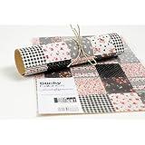 HAB & GUT (TS018) Feuille de Tissu AUTOCOLLANT - patchwork noire et blance; Dimensions: 210 x 297 mm