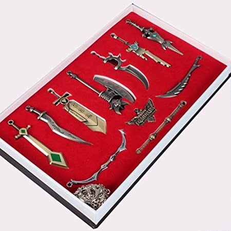 League of Legends 11pcs caractššres armes Modššle Collection Keychain Porte-clšŠs collier pendentif Set