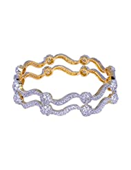 Gehna A Pair Of Bangle Made In Silver Alloyed Metal & Studded With Cubic Zircon