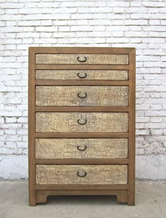 China cómoda de 6 cajones grandes recaídas de madera de pino del cuerpo de madera de los frentes de colour crema