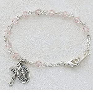 Baby Bracelet BR121D Deluxe Pink Rose Miraculous Medal, Virgin Saint Mary, Immaculate Conception Medal Virgin Mary rosary Bracelet