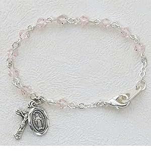 Baby Bracelet Deluxe 4mm Tin Rose Crystal Baby Bracelet Miraculous Medal Virgin Mary Baptism Birth Gift