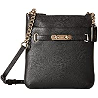 COACH Women's Pebbled Leather Coach Swagger Swingpack Cross Body (Black)