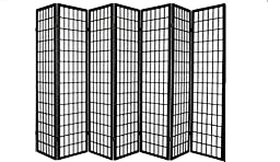 Coaster Oriental Style 4-Panel Room Screen Divider, Black Framed (Black, 7 Panel)