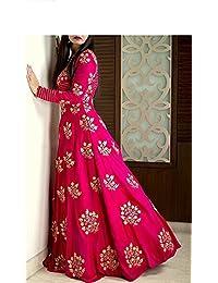 Silk Machine Work Pink Semi Stitched Long Anarkali Suit - 3131