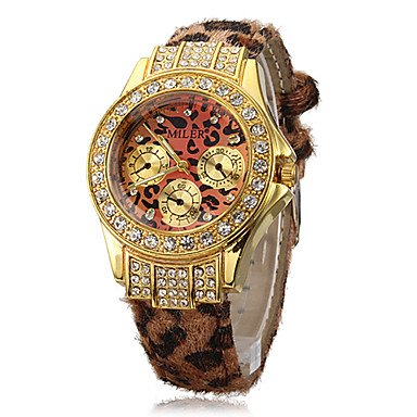 M.M.Women'S Diamante Leopard Print Round Dial Pu Band Quartz Analog Wrist Watch