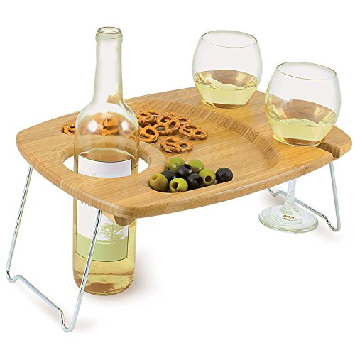 Mesavino Portable Wine Serving Table Tray With Folding Legs And Glass Holders front-592461