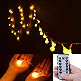 [Upgrade Remote Timer On Off Optional & Dimmable]Ilyever Led Starry String Lights with Remote Control(8 Modes - Warm Light) - 16Ft 40 LED Globe Fairy Lighting for Christmas - Garden - Patio - Wedding - Party