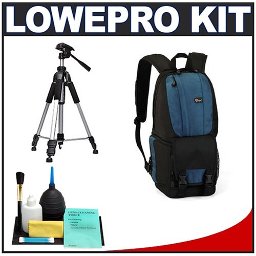 Lowepro Fastpack 100 Backpack Digital SLR Camera Case (Arctic Blue) + Tripod + Accessory Kit for Canon Rebel T3, T3i, T1i, T2i, EOS 60D, 5D, 7D, Nikon D3000, D3100, D5000, D5100, D7000, D300s, Olympus Evolt E-5, E-30, E-620 & Sony Alpha A560, A580, A33, A35, A55