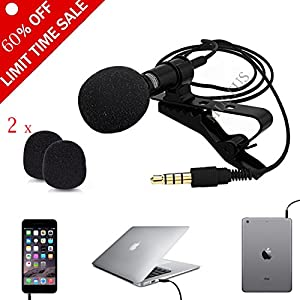 Professional Lavalier Microphone Clip-on Omnidirectional Condenser Mic for iPhone,iPad and Android Smartphone