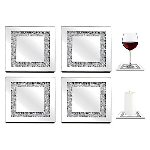 Set of 4 Square Sparkles Mirror Glass Drink Coasters, Pillar Candle Holders, Table Accents (Square Glass Small Lamp compare prices)
