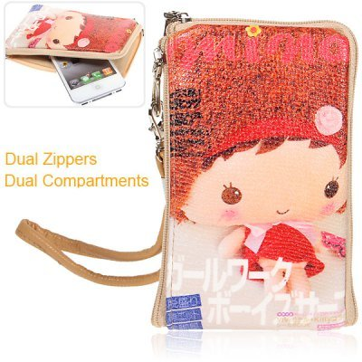 Dual Zippers Fashion Jimmy'S Comics Series Baby Pattern Leather Pouch Case For Iphone, Mobile Phones, Digital Camera, Etc front-1018133