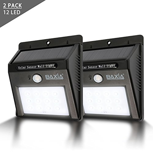 BAXIA TECHNOLOGY Wireless Security Motion Sensor Solar Night Lights - 12 LEDs Bright and Waterproof for Outdoor Garden Wall (2-pack) (Outdoor Wall Solar Lights compare prices)