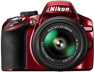 Nikon D3200 Digital SLR with 18-55mm VR II Lens Kit - Red (24.2 MP) 3.0 inch LCD