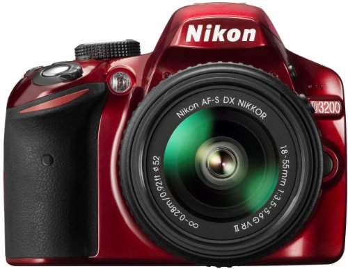 Nikon D3200 Digital SLR with 18-55mm VR II Compact Lens Kit - Red (24.2 MP) 3.0 inch LCD