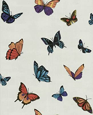 Graham And Brown Luxury Vinyl Butterfly Garden Glitter Wallpaper 10m Roll Pearl Ivory Cream 31-175 from Graham & Brown
