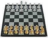 【Amateras】マグネットチェス 磁石 本格 大型 チェスセット チェス盤 国際チェス 金銀駒 折り畳み式 チェスボード便利な 収納ケース型 31cm 大型サイズ【MT220】