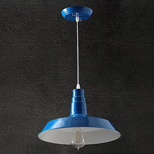 BAYCHEER HL371766 Industrial Retro style Wrought Iron Large Pendant Light Lamp Modern Chandelier 1 Light for Barn Warehouse restaurant, Dark Blue 1