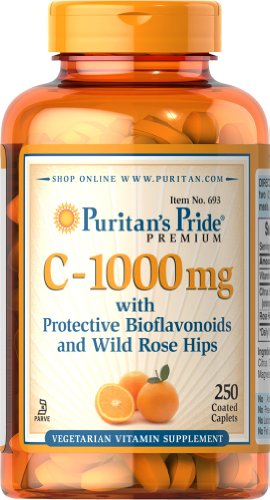 Puritan's Pride C-1000 mg with Protective Bioflavonoids and Wild Rose Hips, 250 Coated Caplets oystercal d 500 mg compare and save 250 caplets free shipping