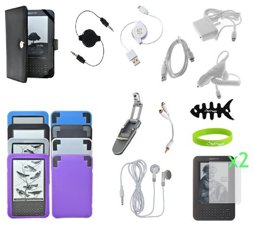 CrazyOnDigital 17-item Essential Accessory Kit Case Charger for Amazon Kindle 3 3G