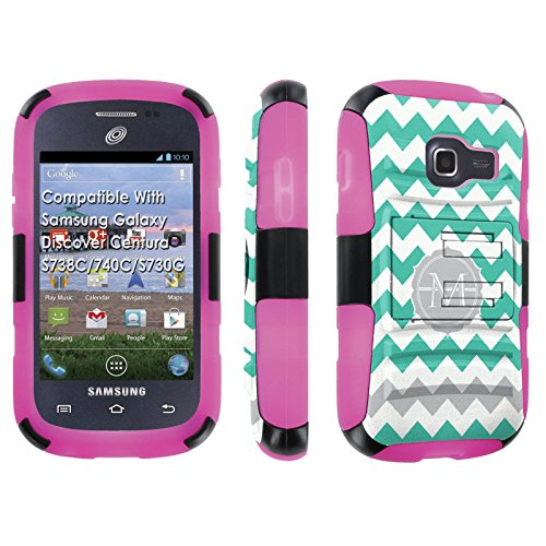 [SkinGuardz] Case for Samsung Galaxy Discover Centura S738C / 740 C / S730 G Black/Rose Pink [Ultra Shock Resistance Tough Case with KickStand] - [Mint Chevron M Monogram] (Samsung S730 compare prices)