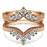 TwoBirch Chevron Style Ring Guard with Millgrained Edges and Filigree Cut Out Design with 0.74 carats of Cubic Zirconia in Rose Gold Plated Sterling Silver