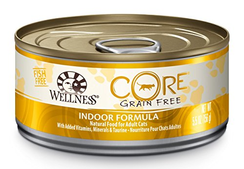 Wellness CORE Natural Grain Free Wet Canned Cat Food, Indoor Recipe, 5.5-Ounce Can (Pack of 24) (Wellness Canned Cat Food Core compare prices)