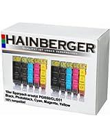 Hainberger Lot de 10 cartouches XXL pour imprimante Canon Pixma IP7250 MG5450 MG6350 MX725 MX925 PGI-550 CLI-551