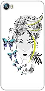 Snoogg abstract woman with elegant hair style and blue butterflies Designer Protective Back Case Cover For Micromax Canvas Fire 4 A107